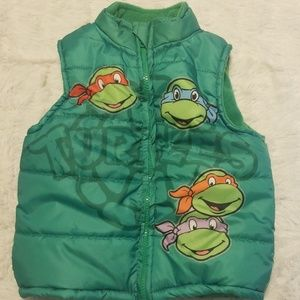 Ninga Turtle green toddler vest. Size 4T fleece li